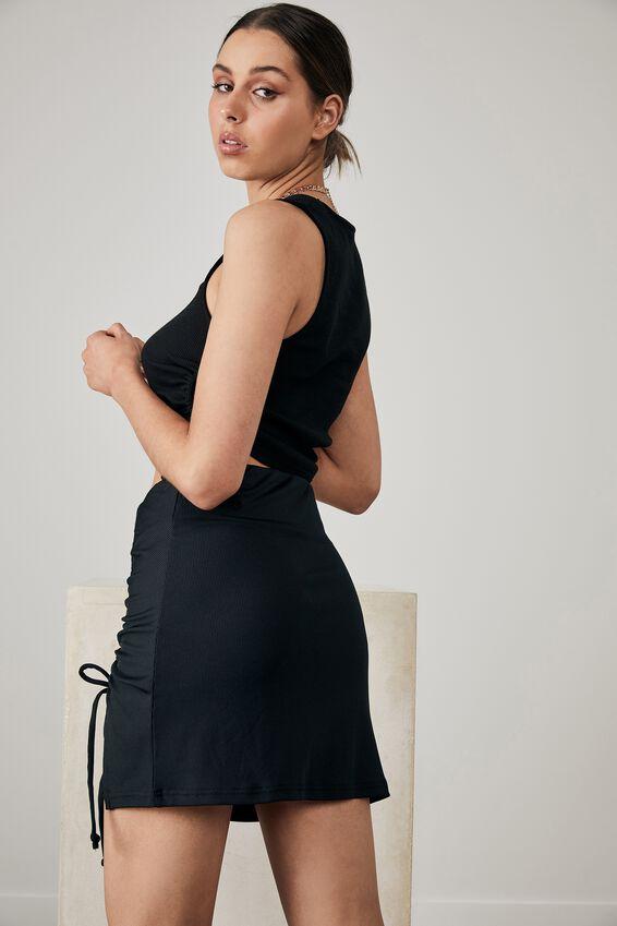 Ruched Side Split Skirt, BLACK