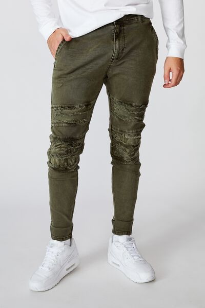 Semi Cuffed Denim Jean, KHAKI