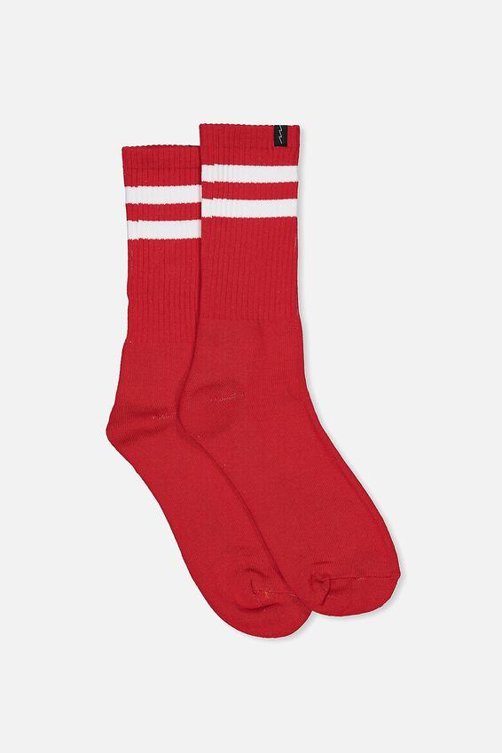 Retro Ribbed Socks, RED_WHITE STRIPE