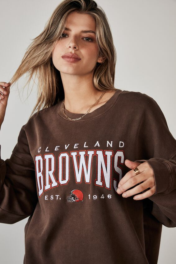 Lcn Nfl Oversized Graphic Crew, LCN NFL WASHED CHOCOLATE/CLEVELAND BROWNS