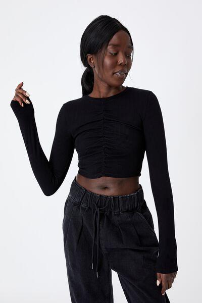 Long Sleeve Cinch Front Top, BLACK