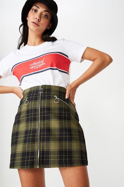 Zip Front A Line Skirt, FARRAH KHAKI CHECK