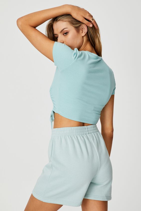 Ruched Short Sleeve Top, ETHER