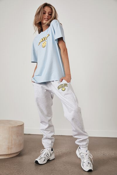 Smiley Lcn Classic Trackpant, LCN SMI SILVER MARLE/SMILEY
