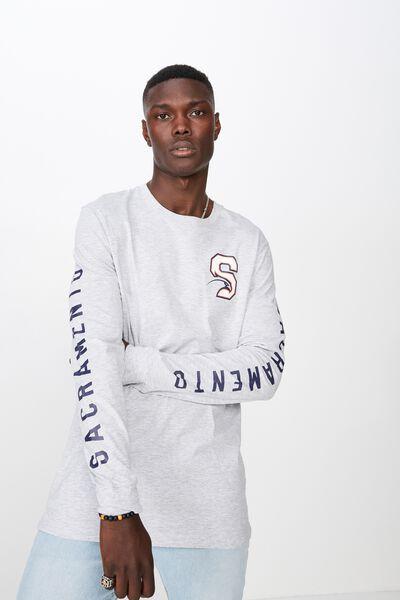 Slim Long Sleeve Drop Hem T Shirt, LIGHT GREY MARLE/SEAHAWK