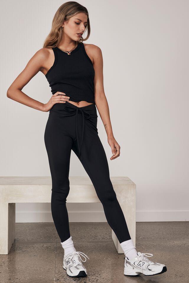 Ruched Legging, BLACK