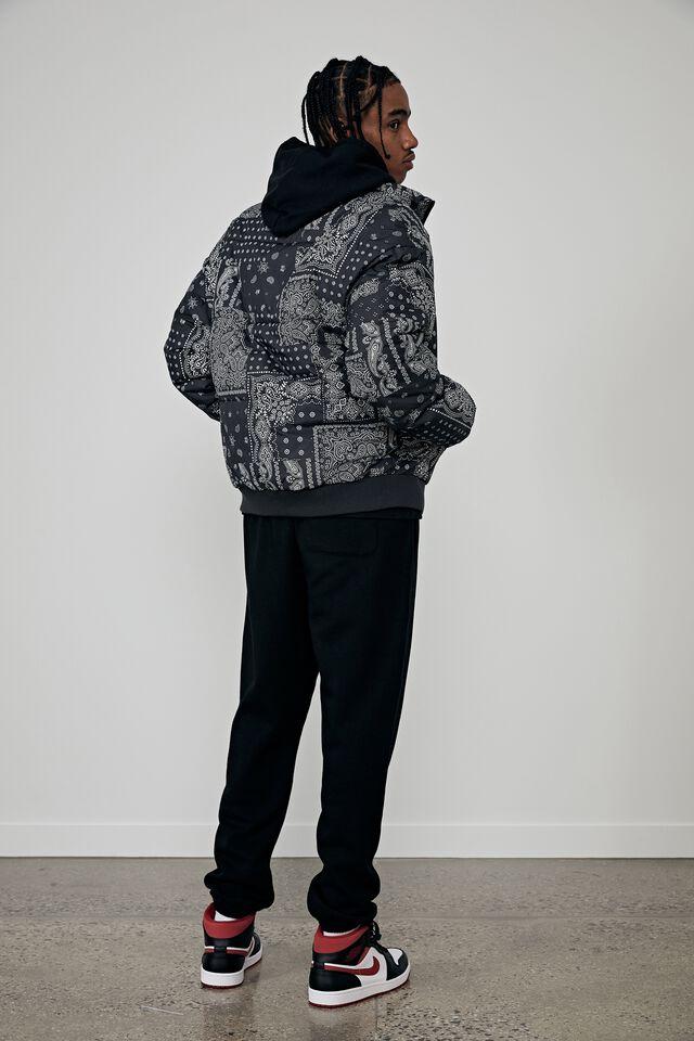 Compton Puffer Jacket, BLACK BANDANA