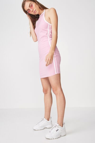 Cut Away Mini Dress, LILAC SACHET_WHITE TAPE