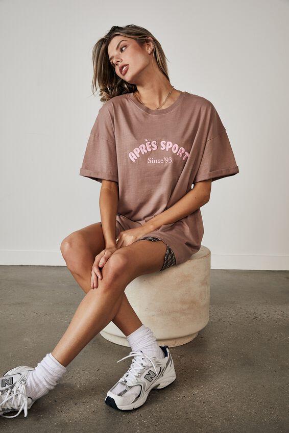 Oversized Graphic T Shirt, DIRTY BLUSH/APRES SPORT