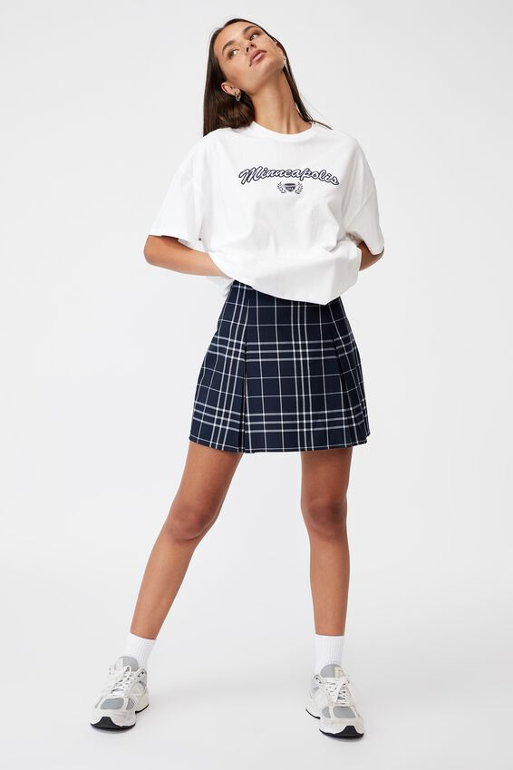 Box Pleat Skirt, VARSITY CHECK_NAVY BLAZER