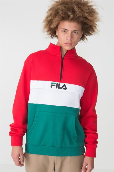Fila Lcn Col Block Qtr Zip Sweater, LYC/WHT/ALP GREEN