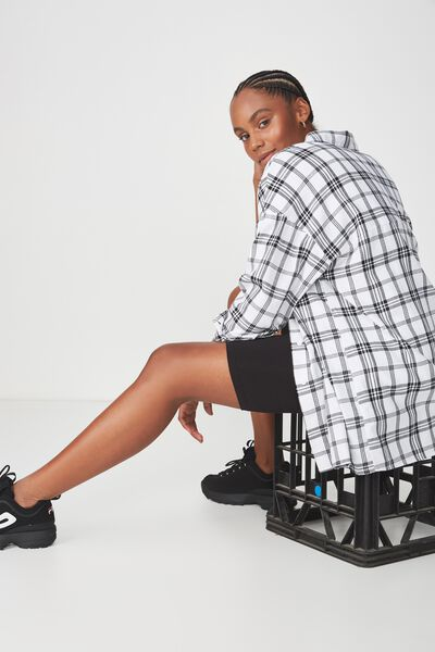 Oversized Check Shirt, WHITE CHECK