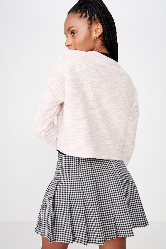 Long Sleeve Textured Crop Pullover, FOX GLOVE