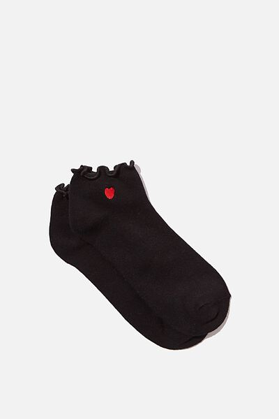 Ankle Embroidered Ruffle Edge Sock, BLACK_HEART