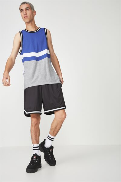 Colour Block Tank, ULTRAMARINE/GREY CHEVRON
