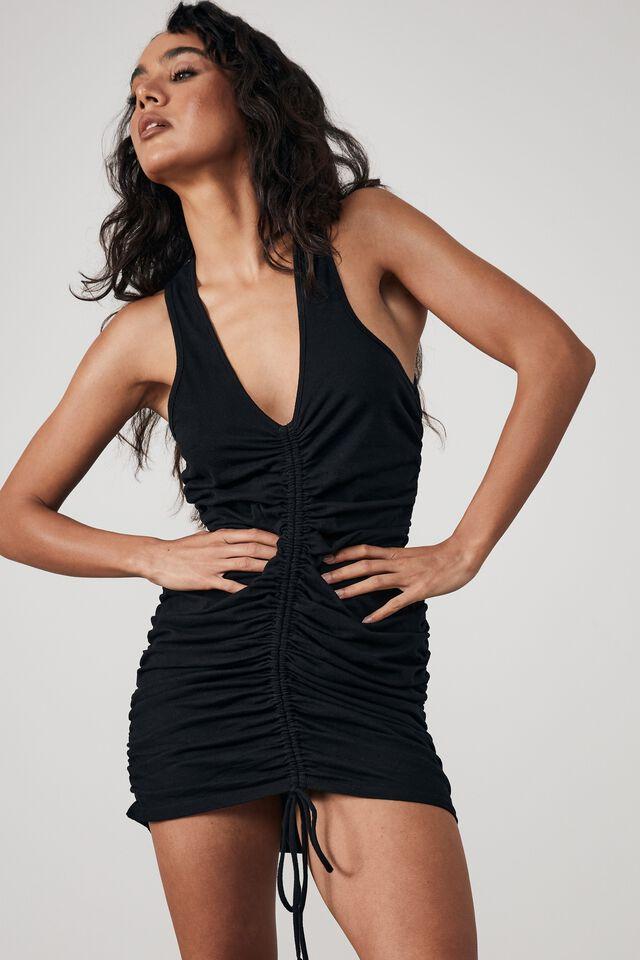 Ruched V Neck Sleeveless Dress, BLACK