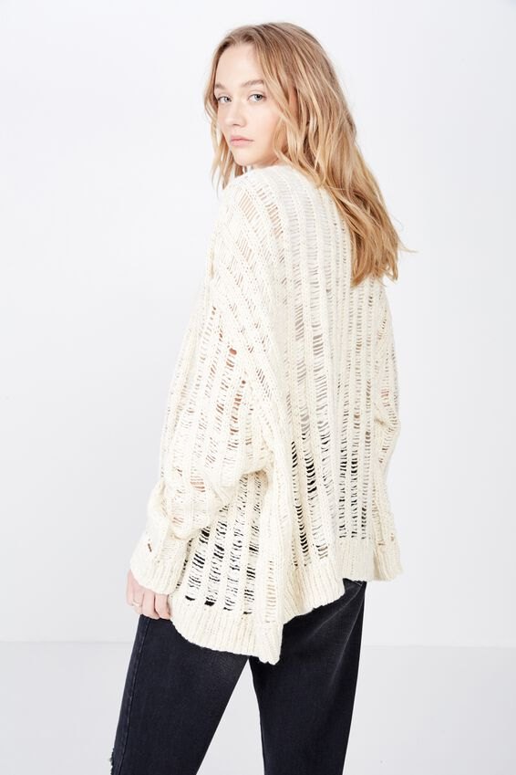 Oversized Chunky Knit Cardi, NEUTRAL