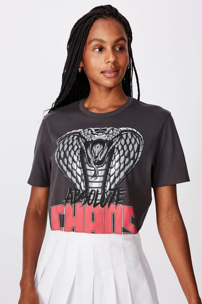 Short Sleeve Raw Edge Crop T Shirt, CHAOS/ASPHALT
