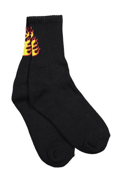 Retro Sport Sock, BLACK_FLAME