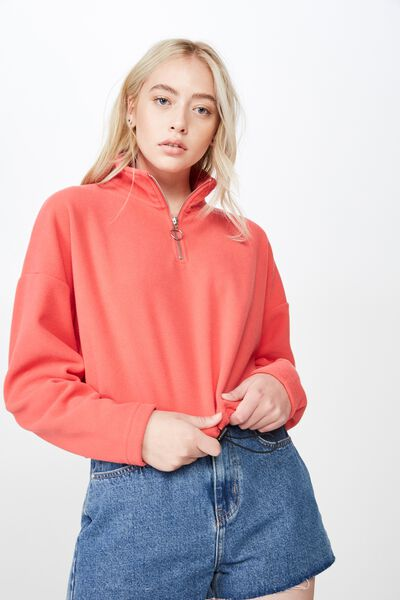 Crop Qtr Zip Polar Fleece, WASHED TOMATO