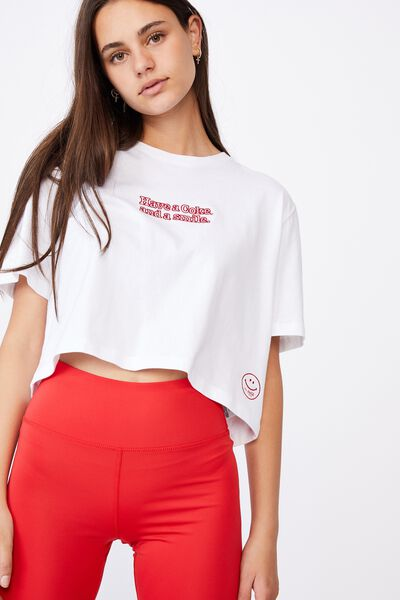 Lcn Raw Edge Graphic T Shirt, WHITE/LCN COK COKE SMILE