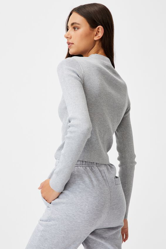 Cut Out Funnel Neck Knit Top, GREY MARLE