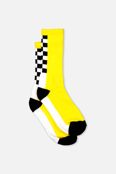 Retro Ribbed Socks, SPINE CHECK _YELLOW