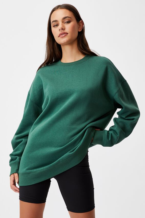 Oversized Crew Neck Sweater, TREKKING GREEN
