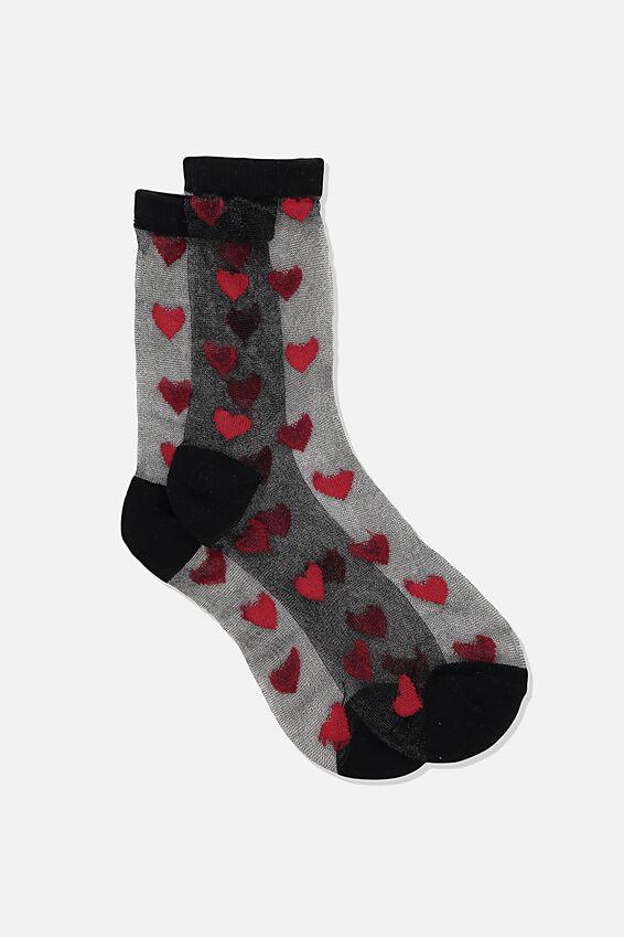 Jacquard Mesh Sock, BLACK SCARLET HEARTS