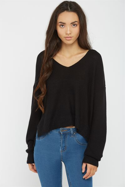 Virginia V Neck Knit, BLACK