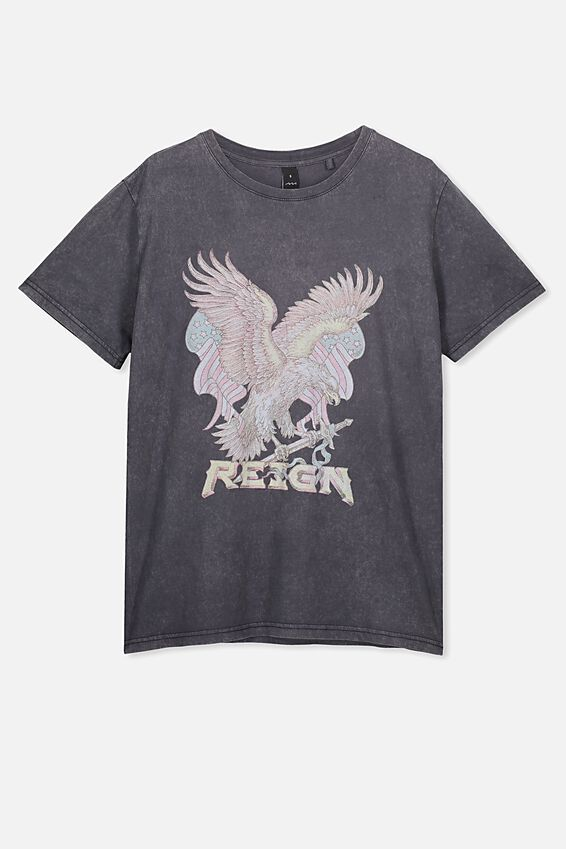 Relaxed Graphic T Shirt, WASHED BLACK/REIGN