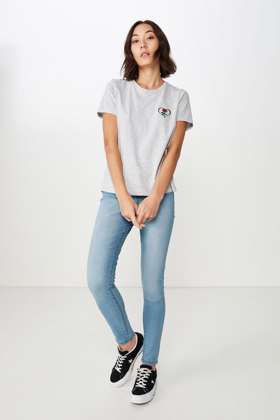 Basic Graphic T Shirt, GREY MARLE_ROSE HEART EMB