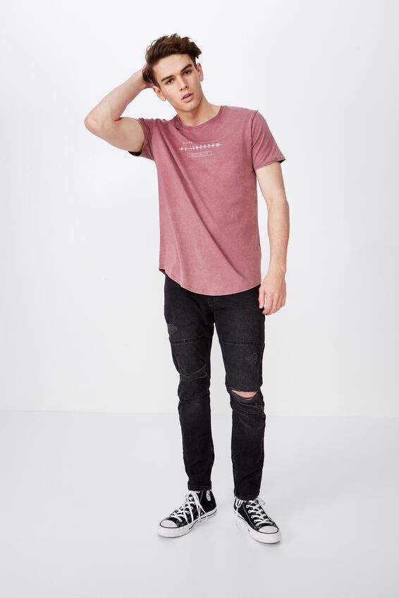 Curved Graphic T Shirt, WASHED TULIPWOOD/NO TOMORROW
