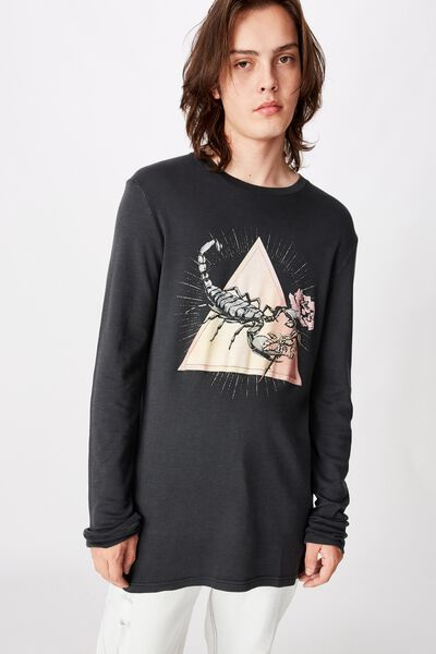 Slim Long Sleeve Graphic T Shirt, WASHED BLACK/SCORPION
