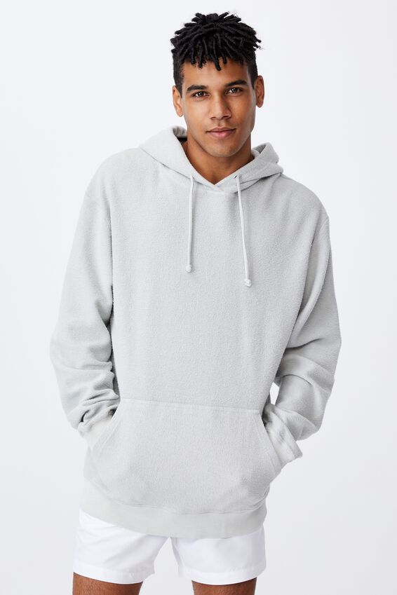 Reverse Fleece Hoodie, WASHED GREY