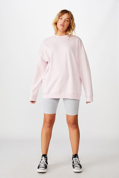 Oversized Crew Neck Sweater, SURF PINK