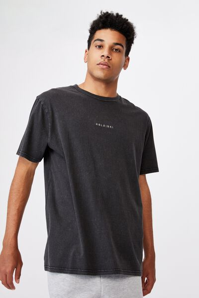 Regular Graphic T Shirt, WASHED BLACK/HELSINKI