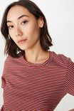 Basic T Shirt Stripe, LILIA STRIPE_RED OCHRE