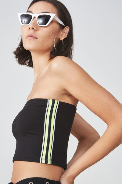 Tube Bandeau, BLACK_FLURO YELLOW TAPE