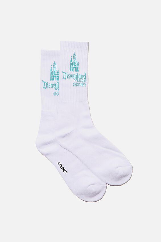 License Retro Rib Socks, LCN DIS DISNEYLAND CASTLE/WHITE