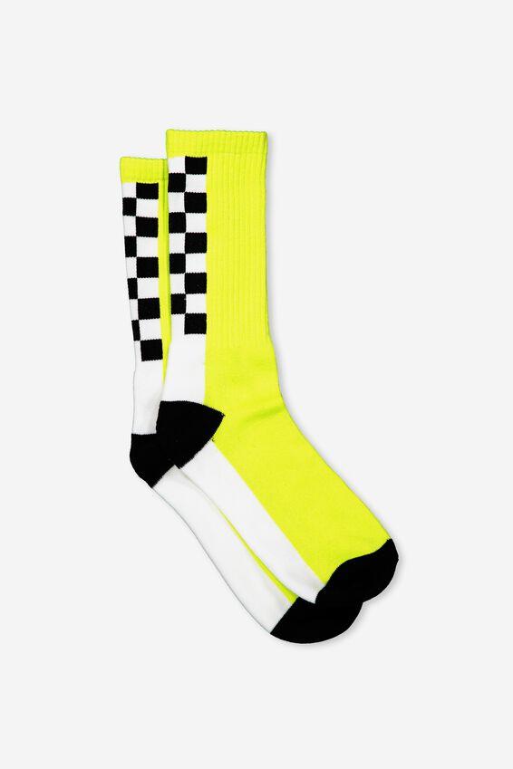 Retro Ribbed Socks, SPINE CHECK_LIME