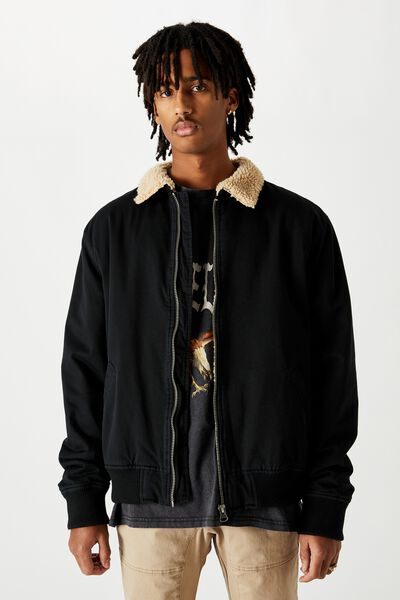 Sherpa Collar Bomber, BLACK