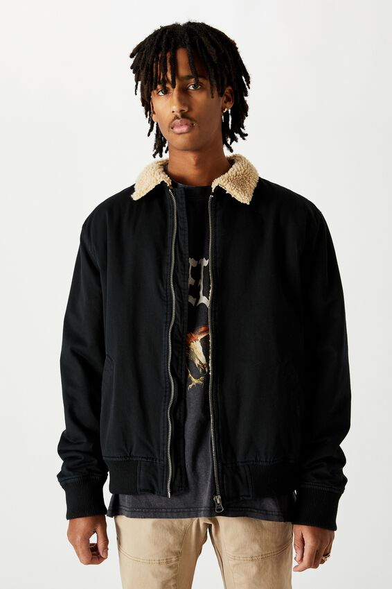 Sherpa Collar Bomber, BLACK