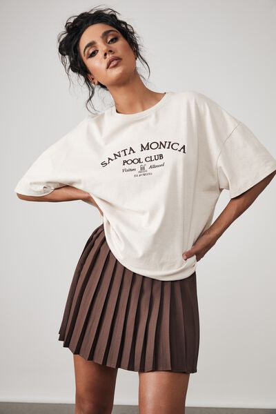 Mini Pleat Skirt, BITTER CHOC