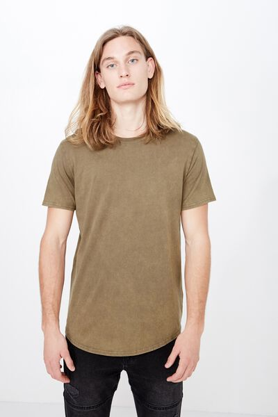 Washed Curved T Shirt, WASHED KHAKI