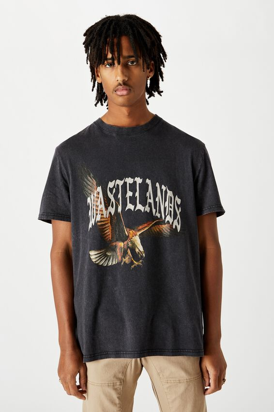 Regular Graphic T Shirt, WASHED BLACK WASTELANDS