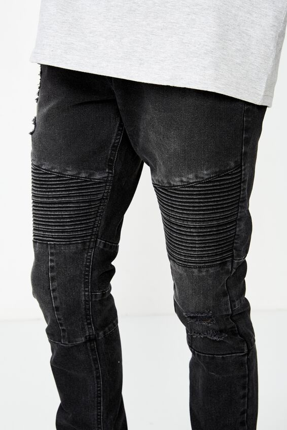 Skinny Leg Moto Denim Jean, WASHED BLACK