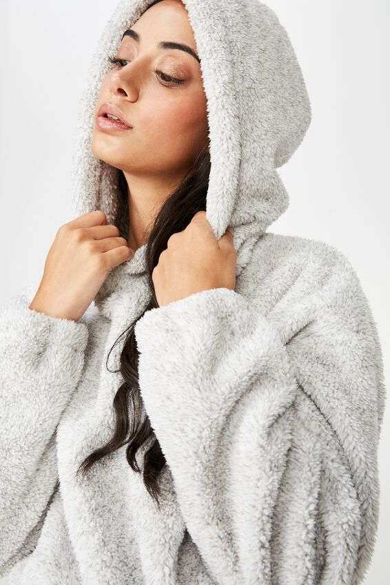 Plush Toggle Hem Hoodie, SPECKLE GREY MARLE