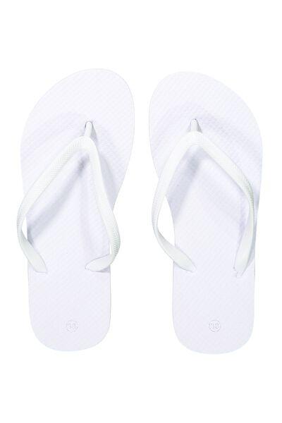 Thin Strap Flip Flop, WHITE