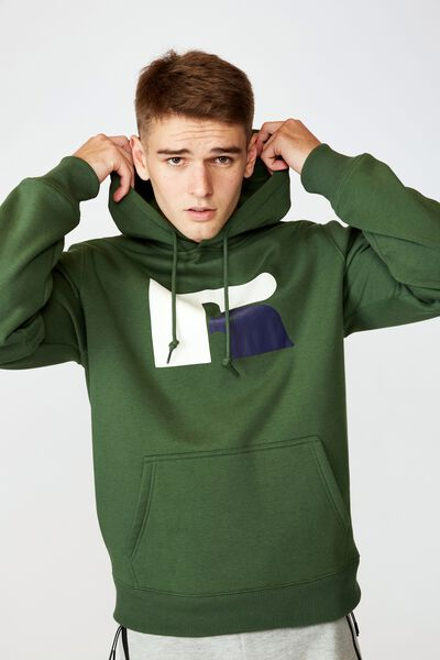 Russell Athletic Hoodie, GREEN/EAGLE R LOGO